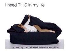 Bean bag bed with built in pillows and blanket
