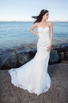 d2dbc5b5f992c Sweet Marguerit - Selena Huan handmade Strapless Beaded Abstract Chantilly Lace  Mermaid Gown wedding dress by