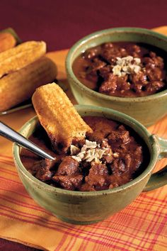 Chunky Beef Chili - Dad-Approved Foods - Southernliving. This hearty beef chili is packed with Southwestern flavor and chunks of tender beef. Serve with Skillet Cornbread to sop up every bit.  Recipe:Chunky Beef Chili