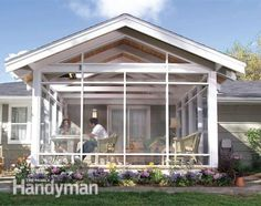 Enclosed Porch Ideas Ranch Home   The screen porch is light and airy. #pergolacost