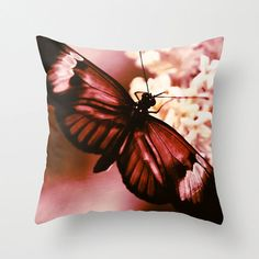 Mauve Butterfly Pillow Cover  fine art by LegendsofDarkness