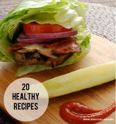 20 Healthy Recipes- hummus encrusted chicken, Asian lettuce wraps, spaghetti squash pasta recipe, etc