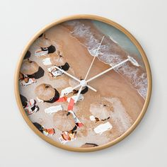 """Good times! Rethink the traditional timepiece as functional wall decor. You'll love how our Artists are converting some of their coolest designs specifically into Wall Clocks. Constructed with premium, shatter-resistant materials, with three frame color options. - Natural wood, black or white frame options - Dimensions: 10"""" diameter, 1.75"""" depth - Choose black or white hands to match frame or design - High-impact plexiglass crystal fac... Wall Art Prints, Fine Art Prints, Framed Prints, Beach Umbrella, Sea Art, Beach Print, Shape And Form, Beach Photography, Wall Clocks"""