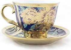 Ambilight Porcelain 6-ounce Coffee Cup and Saucer Flora Chintz with Gold Trim,,set of 1,Blue,C2(1),outstanding decorative cups
