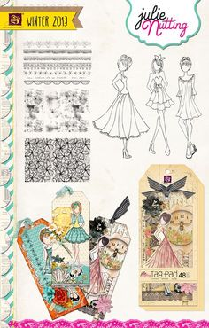 New Prima Julie Nutting Doll Stamps and Tag Pad Prima Paper Dolls, Prima Doll Stamps, Digi Stamps, Scrapbooking, Scrapbook Paper, Altered Canvas, Goodies, Paper Tags, Copics