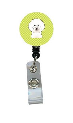 Checkerboard Lime Green Bichon Frise Retractable Badge Reel BB1279BR