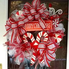 Christmas  Pepperment Wreath by WreathsEtc on Etsy