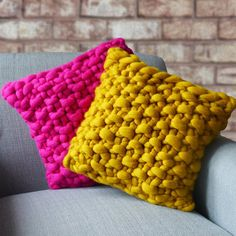 New cushions colours available! Handmade chunky knit cushions in bright pink and mustard yellow Yellow Cushion Covers, Knitted Cushion Covers, Yellow Cushions, Knitted Cushions, Colourful Cushions, Pink Throws, Pink Throw Pillows, Laine Chunky, Super Chunky Yarn