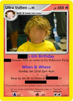 Pokemon Birthday Invitation  this is real creepy with the kids face all blurred out but..the idea rules.