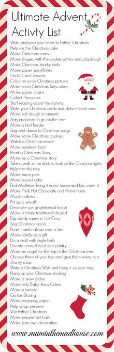 holiday activities The ultimate advent activity list - Mum In The Madhouse- Mum In The Madhouse 25 Days Of Christmas, Noel Christmas, Christmas Countdown, Little Christmas, Winter Christmas, Christmas Crafts, Xmas, Christmas Ideas, Father Christmas