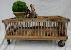 antique chricken coop , coffee table