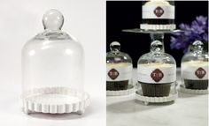 Serve cupcakes with style with this mini individual bell glass jar.