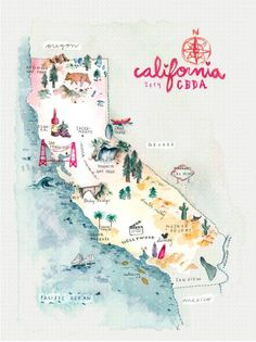 California Travel Map - Carte Illustrée pour un road trip en Californie.