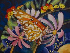 "Butterfly Panel #1, ""Fritillary"", 42 x 48 inches.  Silk painting by Pamela Glose  www.MySilkArt.com"