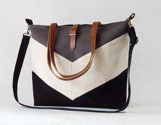 LARGE, Black gray chevron tote / diaper bag / shoulder bag with detachable strap  Design by BagyBags