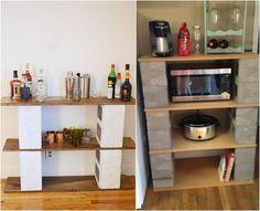 bar et cuisine extérieure DIY en parpaing creux et bois
