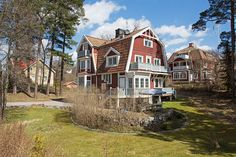"""With a desirable location in Stocksund in Sweden this beautiful """"turn of the century villa"""" from 1904 for a total of 324 sqm. The villa which has features of both Art Nouveau and National Romanticism is designed by architect B A Sjösteen. Stockholm Archipelago, Scandinavian Home, Bro, Interior And Exterior, Sweden, Art Nouveau, Villa, Mansions, Country"""