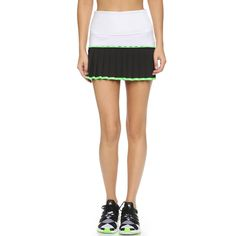 Monreal London Flip Tennis Skirt (200 NZD) ❤ liked on Polyvore featuring activewear, activewear skirts, black b, tennis skirts and neon activewear