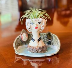 Mini Marie Antoinette Ceramic or Pottery Planter Head or Face Pot for Succulents or Plants Hall Of Mirrors, Flaws And All, Inside The Box, Pottery Plates, Pottery Designs, Piece Of Cakes, Marie Antoinette, Art Studios, Eat Cake
