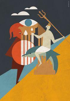 Illustrazione per la città di Taranto. Il mito della doppia fondazione. Taras e Falanto My Works, Study, Watercolor, Movies, Movie Posters, Art, Pen And Wash, Art Background, Studio