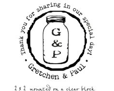 Mason Jar rubber stamp thank you for sharing in by stampoutonline, $35.00