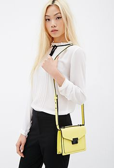 Pebbled Faux Leather Crossbody   FOREVER21 - 1000134658