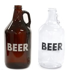 """64 oz Glass BEER Growler! Fill up your glass growler with your favorite craft beer from your local brewery or fill it yourself with 64 ounces of your next home brew. """"BEER"""" is printed across the front of the growler so you never have to guess what is inside. Not your ordinary glass jug, these growlers make the perfect gift for the beer lover or home brewer in your life. $8.95"""