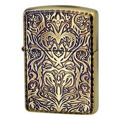 Armor Zippo Lighter Antique Floral Design A Brass Oxidized