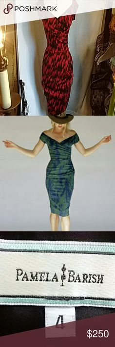 """Gorgeous Pamela Barish Dress! Most beautiful dress! Red and black pattern, with ruching at left side of bust and hip, black lining. I contacted the store in Los Angeles to check the price on this style in blue (found the pic at their online store). I was told I could have it made for $1700, on sale.... Lol! I believe it's silk with a good deal of stretch, but very fitted! Measures flat; 17-18"""" across armpits, 12 -13"""" across waist, 17-18"""" across hips, and 40"""" shoulder to hem. Absolutely…"""