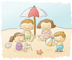 scribbles: family vacation Royalty Free Stock Vector Art Illustration