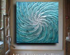 Abstracto pintura moderna azul metálico blanco por artoftexture