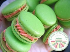 Watermelon Macarons from  GREEN EYED SUSAN (Just idea, there are no recipe)