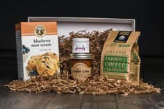 Looking for the perfect gift for Mother's Day! Here is our delicious collection of Artisan made breakfast foods that mom is sure to love. It includes: Blueberry Sour Cream Scone Mix by King Arthur Flour, Jam by Potlicker Kitchen, Maple Cream by Grandpa's Stuff, and Medium Roast Coffee beans by Vermont Coffee Company.