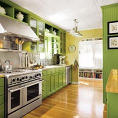 Small Kitchen Designs in Yellow and Green Colors Accentuated with Red or Light Blue