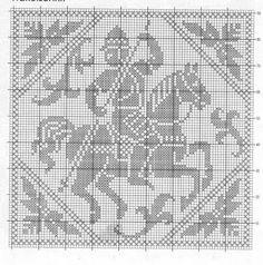 A VIDA É BELA- Trabalhos e trajetos de um crocheteiro gaúcho: SÃO JORGE CROCHÊ ! SAINT GEORGE CROCHET ! Gráfico de mais de 400 anos !