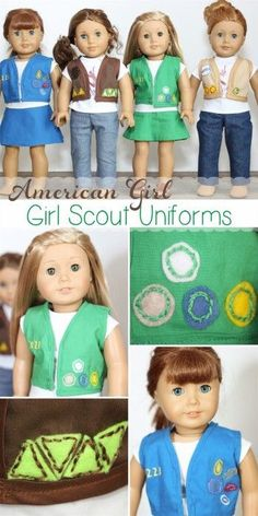 DIY American girl doll Girl Scout uniforms. Cut the right amount of fabric, see along the edges of the vest then hand so fabric patched on