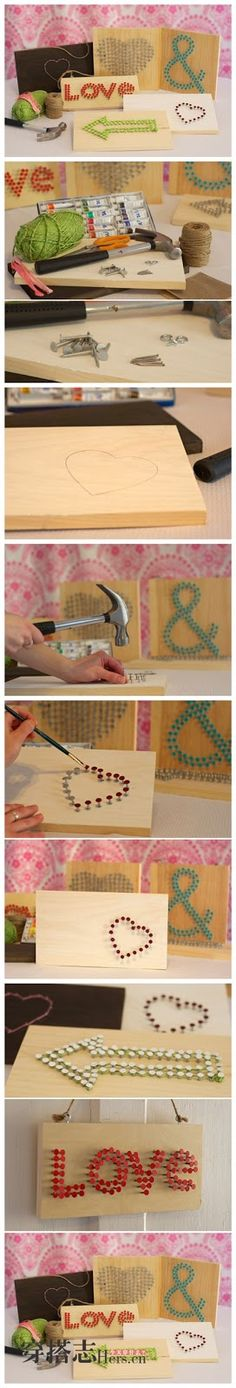 DIY Wall art for Valentines day - Cute Crafts, Crafts To Do, Arts And Crafts, Diy Crafts, Diy Wall Art, Diy Art, Diy Projects To Try, Craft Projects, Do It Yourself Baby