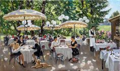 Stanislav Fomenok - Sommercafe im Park. The dappled light and the scene reminds me of Auguste Renoir