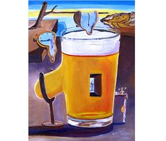 Beer Painting, Salvador Dali Style, Surrealism, Beer Pint, Gift for Home Brewer, Tap Room Beer Art, Gift for Brother, Gift for Beer Drinker by RealArtIsBetter on Etsy https://www.etsy.com/listing/221515645/beer-painting-salvador-dali-style