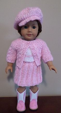 "American Girl Doll - 3 piece suit and hat (newsboy cap free pattern http://www.ravelry.com/patterns/library/newsboy-cap-for-american-girl-dolls ) hand knitted in acrylic yarn. Also fits Gotz, Madame Alexander & similar 18"" dolls. AVAILABLE"