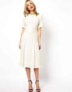 3f3cee0f44314 Midi Dress With Ruched Side Detail in cream from Asos, $37.04 (sizes 0-