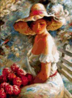 Девушка с цветами, предпросмотр