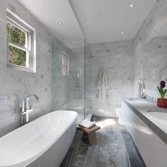 Contemporary Master Bathroom with Freestanding Bathtub, High ceiling, slate tile…