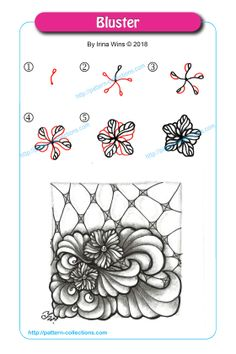 Drawing Doodles Ideas Bluster by Irina Wins - Visit the post for more. Zentangle Drawings, Doodles Zentangles, Doodle Drawings, Zen Doodle Patterns, Zentangle Patterns, Doodle Borders, Tangle Doodle, Tangle Art, Flower Doodles