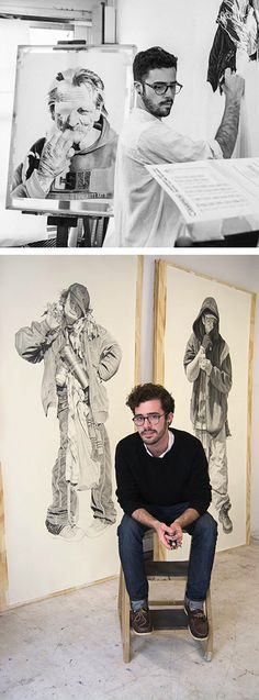 Joel Daniel Phillips, in his art studio #workspace with life-sized people, pencil and charcoal drawings. joeldanielphillips.com