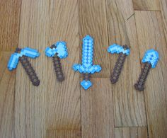 Minecraft Diamond Tool Magnets from perler beads