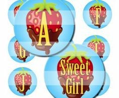 Chocolate Dipped Strawberry Alphabet Letters Initials Bottle Cap Image Sheet - Bottle Cap Image Sheets