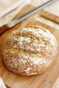 A simple crusty, no-knead bread recipe baked with toasted grains and seeds. Knead Bread Recipe, No Knead Bread, Yeast Bread, Cooking Bread, Bread Baking, Bagels, How To Make Bread, Food To Make, Bread Recipes