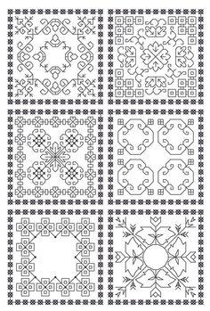 Set of 6 Blackwork Biscornu Patterns