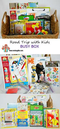 Road Trip Busy Box. We traveled with a toddler and a preschooler and reached the destination with no meltdown. The busy box was a success - best travel toys, craft/coloring supplies, travel scavenger hunt.